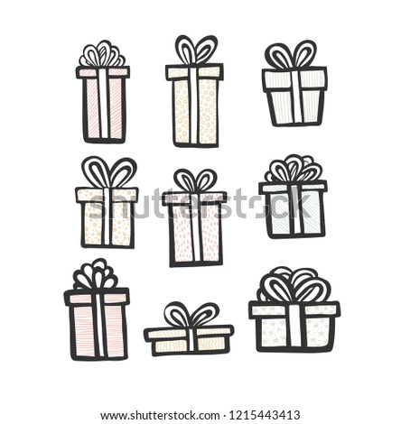 gift icon set. Color simple present box with ribbon. Hand drawing . Doodle style black ink. different variations pattern