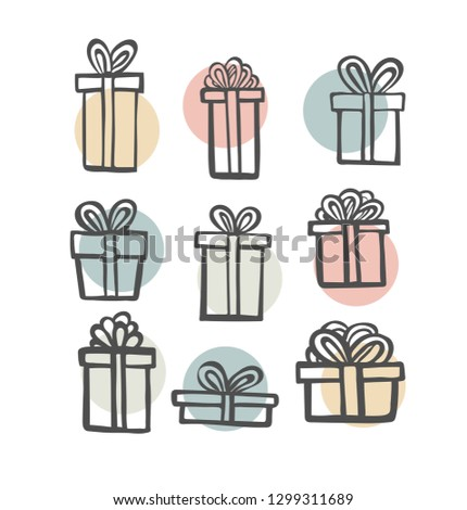 gift icon set. Color simple present box with ribbon. Hand drawing . Doodle style black ink. different variations