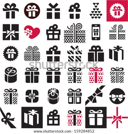 Gift icon set Gift box