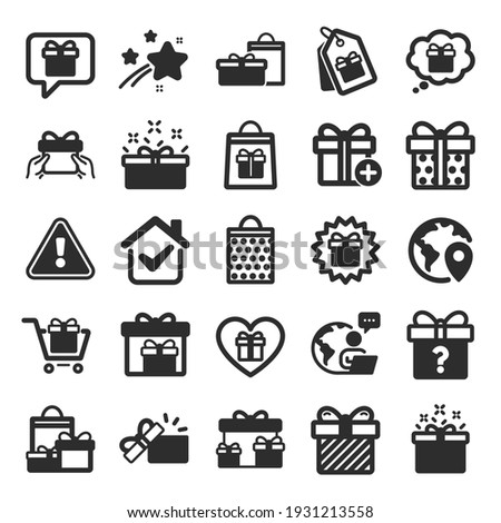 Gift icons. Present box, Offer and Sale. Shopping cart, Tag and Chat. Speech bubble, Give a gift box, question mark, birthday discount. Shopping sale cart, present tag, delivery. Flat icon set. Vector