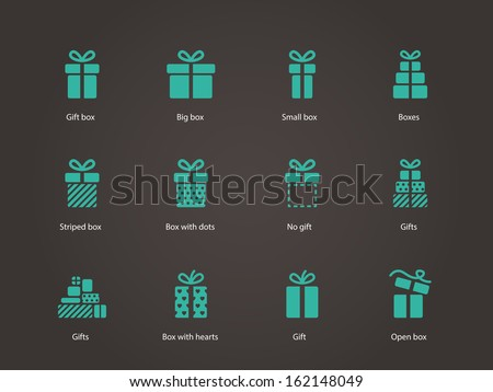 Gift icons. Vector illustration.