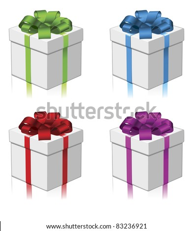 Gift in four different colour variations. Red, green, blue, and purple.