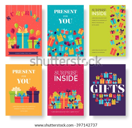 Gift information cards set. Surprise template of flyear, magazines, posters, book cover, banners. Box infographic concept  background. Layout illustrations modern pages with typography text