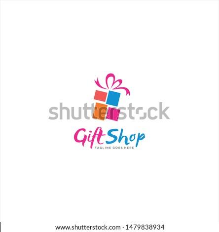 Gift Logo Design, Gift Shop Logo Design,  Loving Gift, Gift Box Logo Icon Vector,  birthday Logo