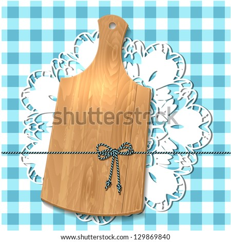Gift of cutting board on the tablecloth - stock vector