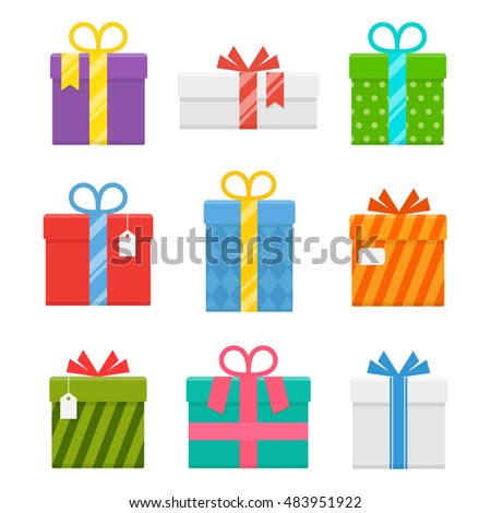 Gift or present box with ribbon vector set of isolated from the background. Icons of gifts box for Christmas or a birthday party in a flat style. Collection of gifts in bright, festive wrapping.