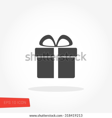 Gift, Present, Giftbox Isolated Flat Web Mobile Icon / Vector / Sign / Symbol / Button / Element / Silhouette