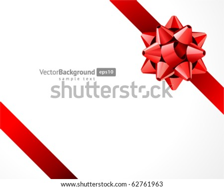 Gift red bow vector background. Eps 10