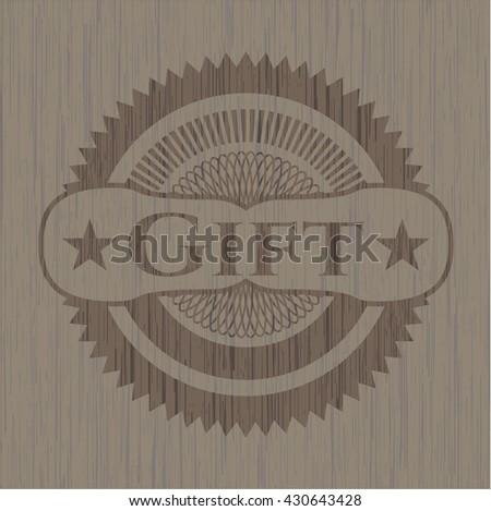 Gift retro style wooden emblem