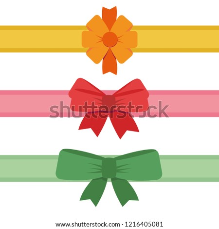 gift ribbon with red bow, orange bow, green bow