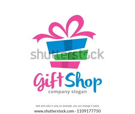 Gift Shop Logo Symbol Template Design Vector, Emblem, Design Concept, Creative Symbol, Icon