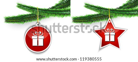 gift star and ball labels