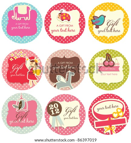 Gift tag 3 - stock vector