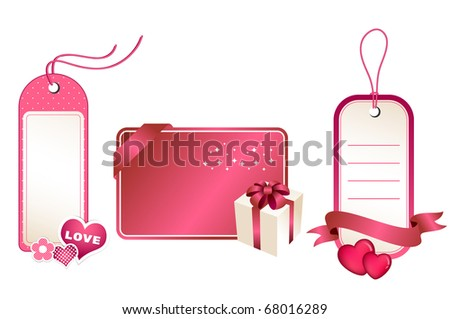 Gift tags and card, romantic elements