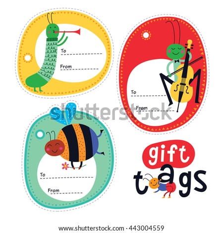 gift tags with cute insects for