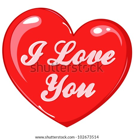 Gift vector red heart with text - I love you, can be used for greeting card, decoration, wedding invitation, Valentines day decor