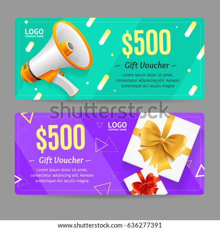 Gift Voucher Card Set Template Monetary Value Coupon with Megaphone and Present Box. Vector illustration