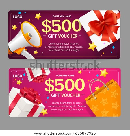 Gift Voucher Card Set Template with Loudspeaker Symbol Advertising or Sale Present Box and Paper Bag. Vector illustration