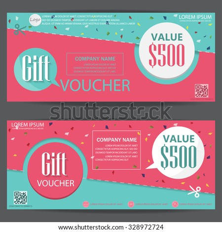 Gift voucher certificate coupon template cute and modern for Shopping certificate template
