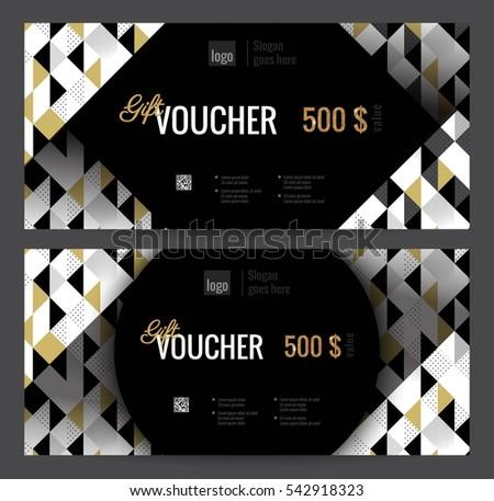 Flat Modern Gift Voucher Template Download Free Vector Art Stock