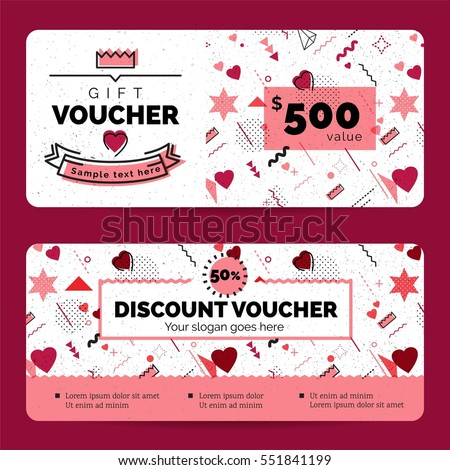 Gift Voucher Coupon discount for Happy Valentine's Day celebration with holiday symbols  in retro 80s, 90s memphis style. Vector illustration