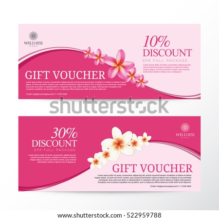 Gift Voucher for Spa Hotel Resort, Frangipani Flowers Tropical Summer, Abstract Background Flora Healthcare, Ads Promote, Element Exotic, Vector illustration Design