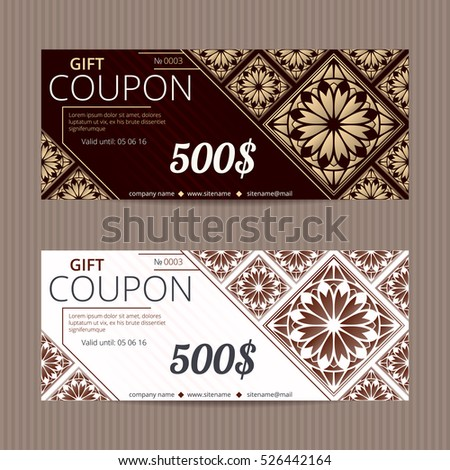 Gift voucher in luxury style. Vector discount card. Lacy floral tiles. Golden ornament.