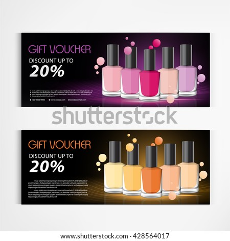 Manicure and pedicure vector set download free vector art stock gift voucher nail polish bottle and drop template design beauty products vector freerunsca