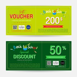 Gift voucher or gift coupon for back to school season in colorful theme