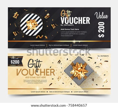 Gift Voucher Template or certificate coupon design template,Collection gift certificate business card banner calling card poster.Vector illustration