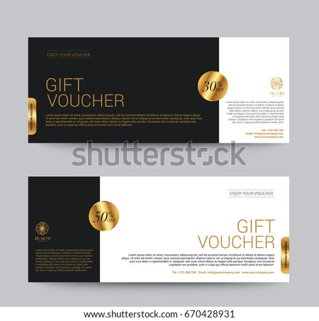 Gift Voucher Template Premium luxury for Hotel Resort, Golden Style, Vector illustration