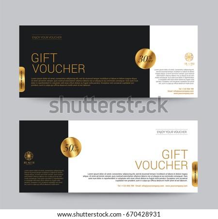 Gift Voucher Template Premium luxury for Hotel Resort, Golden Style, Vector illustration
