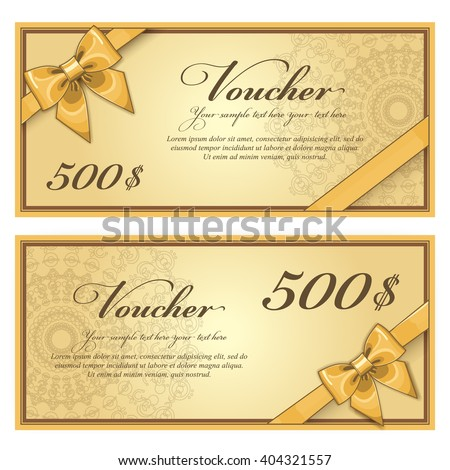 Gift voucher template with a market offer. Advertising promotional coupon with certain value. Two side of discount voucher design or gift certificate layout.