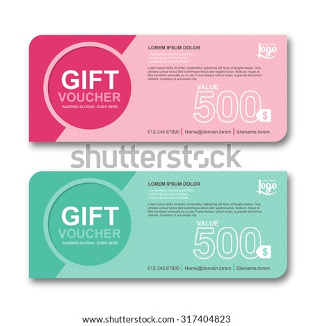 Gift voucher template with colorful pattern, cute gift voucher certificate coupon design template, Collection gift certificate business card banner calling card poster, Vector illustration