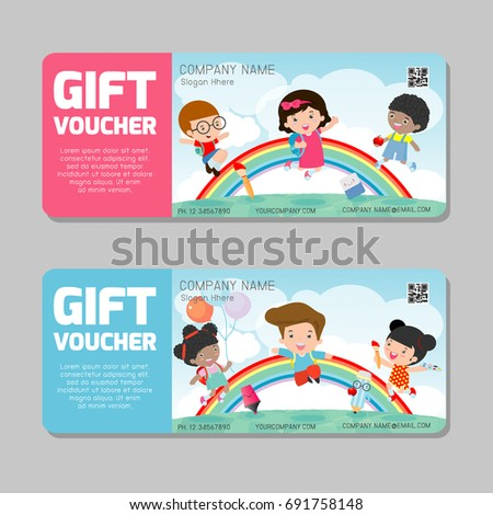 Gift voucher template with colorful pattern,cute gift voucher certificate coupon design template,kids jumping,  Vector illustration