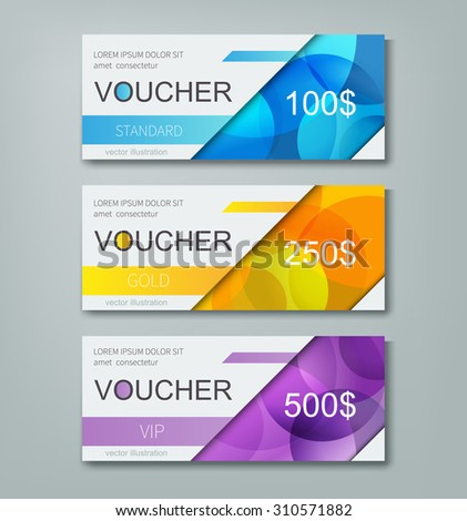 gift voucher template with different cost / vector set of abstract design card