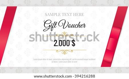 Premium red certificate and diploma template design vector gift voucher template with floral pattern and red bow ribbons design usable for gift yadclub Image collections