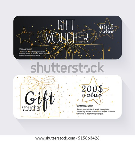 Gift voucher template with gold background. Background design coupon, voucher, certificate, invitation, currency. Vector illustration.