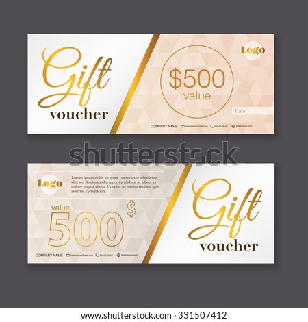 Gift voucher template with gold pattern, certificate. Background design coupon,  invitation, currency. Vector illustration.