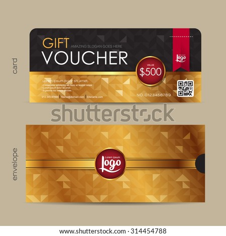Gift voucher template with premium pattern and envelope design with geometric pattern,cute gift voucher certificate coupon design template,,Vector illustration