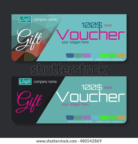 Gift voucher. The combination of graphic elements with typography & place for text, logo, contact information.
