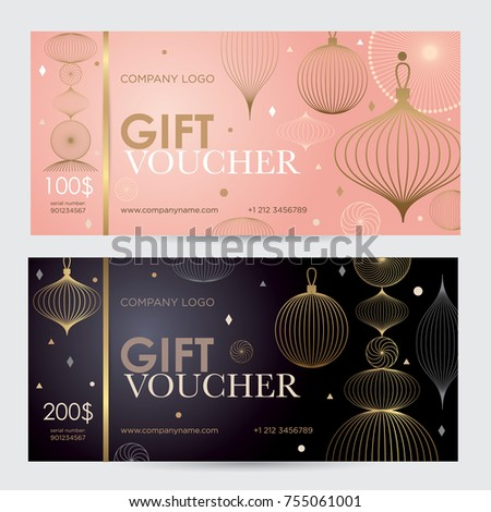 Gift voucher with geometric gold decor. Festive gift coupon with an abstract pattern.  Vector template for gift card, coupon and certificate for a spa, beauty salon, shops and restaurants