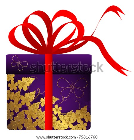 Gift with gold flowers and red bow. Vector.