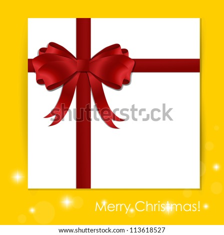 Gift with ribbon and bow, vector illustration.