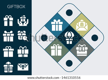 giftbox icon set. 13 filled giftbox icons.  Collection Of - Gift, Present, Gift box