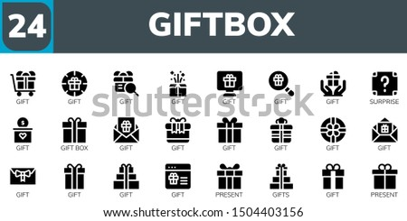 giftbox icon set. 24 filled giftbox icons.  Collection Of - Gift, Surprise, Gift box, Present, Gifts