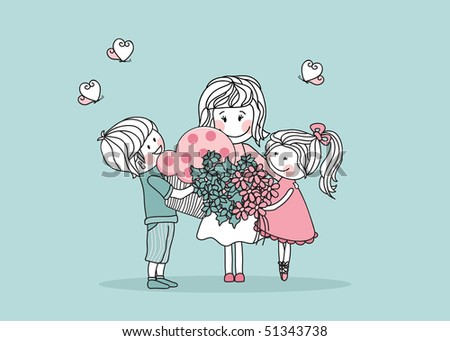 gifts for mother - stock vector