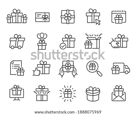 Gifts Icons set. Collection of simple linear web icons such Gift Set, Gift Giving and Delivery, Gifts with Balls, Gift Selection and Search, Unpacking the Gift and others. Editable vector stroke.
