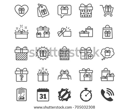 Gifts line icons. Set of Present box, Offer and Sale signs. Shopping cart, Tags and Chat symbols. Speech bubble, Give a gift and Question mark. Report, Calendar and Service signs. Vector