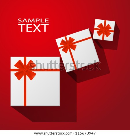 Gifts with red bow with ribbons on red background. EPS10 vector.